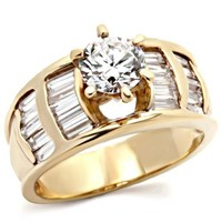 Round Brilliant with Bagutte sides CZ Gold Engagement Ring