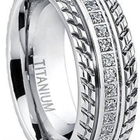 Men's Titanium Wedding Band, Engagement Eternity ring, Chevron design, Cubic Zirconia CZ Ring