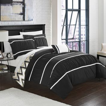 Chic Home 4-Piece Brooks Pleated & Ruffled with Chevron REVERSIBLE Backing King Comforter Set Black Shams and Decorative Pillows included
