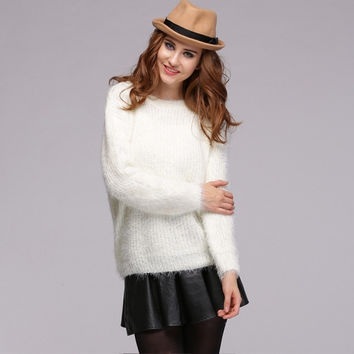 Winter Spring Female Smooth Mohair Pure Candy Color Casual Sweater Outwear
