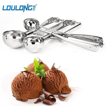 Good Quality 1 PCS Stainless Steel Ice Cream Spoon Tools For Kitchen Gadgets Mash Muffin Scoop Ice Cream Ball Maker IC002