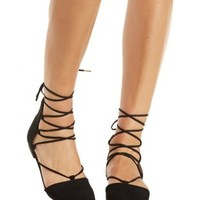 Black Qupid Pointed Toe Lace-Up Flats by Qupid at Charlotte Russe