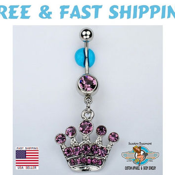 Crown Dangle Belly Ring Bar Purple CZ Queen Princess Tiara Navel Ring 14G (C34) Free Shipping
