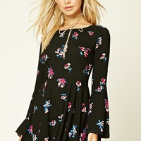 Floral Print Self-Tie Dress