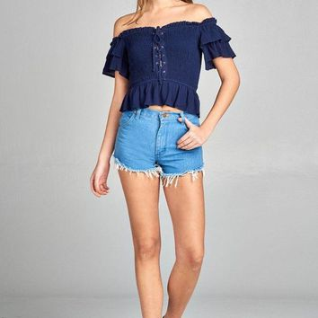 Ladies fashion double layered short sleeve off the shoulder front smocked w/lace-up crinkle gauze woven top