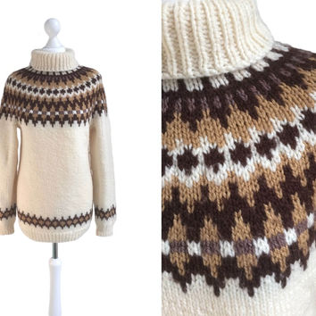 70's Jumper - Hand Knitted Sweater - Vintage Icelandic Style Jumper - Cream And Brown Patterned Roll Neck
