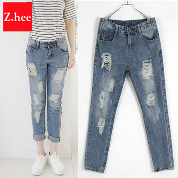 Casual Holes Mid-Rise Ripped Boyfriend Jeans Women Denim Fashion Loose Capris Jeans Slim Beggar Female Jeans Pencil Pants