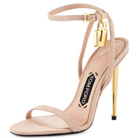 Lock Ankle-Wrap Suede 110mm Sandal, Nude