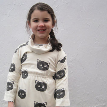 Organic Girls Cat Dress - Cowl Neck Dress in Black and White Mischevious Kitty (12 months 2T 3T 4T 5T 6T)