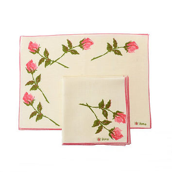 Vintage 60s Vera Neumann Ladybug Pink Rose Napkins and Placemats 8 piece Set 1960s Floral Linens Hippie Boho Kitsch Easter MCM Home Decor