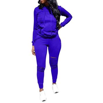 Sporty Girl Distressed Two Piece Sport Suit