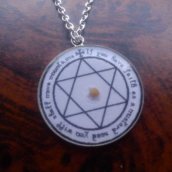 Mustard Seed Faith pendant. Necklace. Matthew 17:20. Hexagram.  God. Christianity. Christian Quote Bible Verse