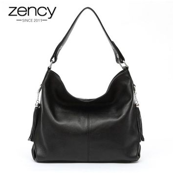 2017 New Fashion Soft Real Genuine Leather Tassel Women's Handbag Ladies Shoulder Tote Messenger Bag Purse Satchel Black White