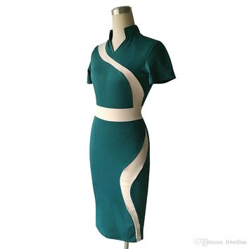 career dress Womens Green Black Vintage Contrast Colorblock Slimming Wear To Work Office Business Casual Party Pencil Sheath Bodycon Dress