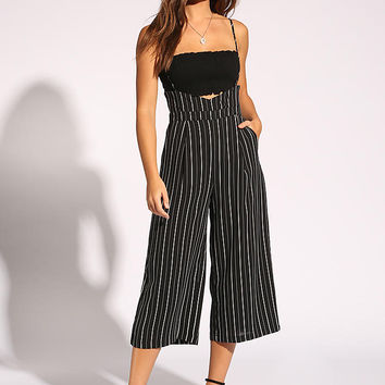 Black and White Pinstripe Overall Pants
