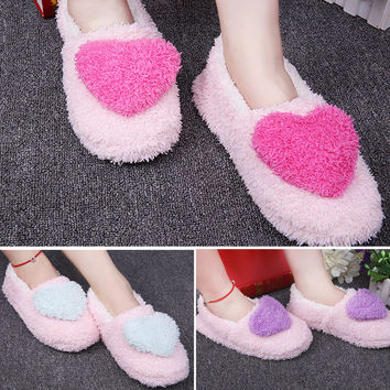 Woman Unicorn Slippers Cute Heart Indoor Home Infoor Indoor Slippers Fluffy Shoes For House Bedroom