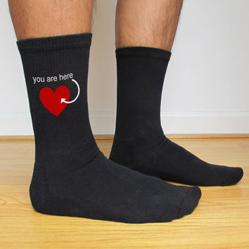 Valentine's Day Socks Custom Printed for Men, You Are In My Heart, Valentine Gift Idea, Personalized Socks, Black or White Set of 3 Pairs
