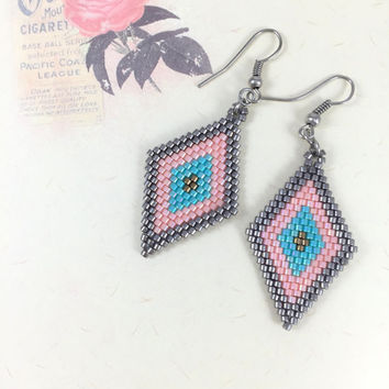 Miyuki Bead Brick Stitch Earrings, Beadwork Earrings, Beaded Earrings,Peyote Stitch Earrings, Copper Earrings, Turquoise Earrings