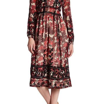 DCCKHB3 TOPSHOP | Midnight Floral Embroidered Dress