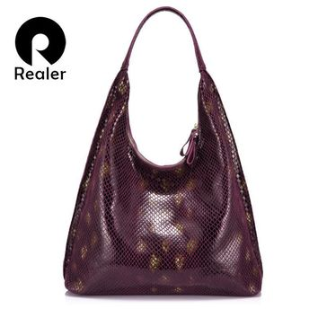REALER brand genuine leather women shoulder bag female handbag  hobo large capacity serpentine prints soft fashion