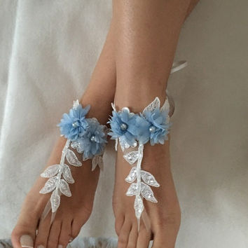 FREE SHIP Blue ivory 3D flowers lace barefoot sandals, beach wedding barefoot sandals, belly dance, lace shoes, bridesmaid gift, beach shoes