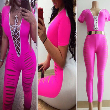 Pink Strappy Neckline Ripped Jumpsuit