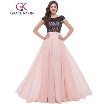 Grace Karin Lace Evening Dresses 2017 Mother Backless Chiffon Elegant Long Formal Gowns Pink Special Occasion Dress With Sleeves