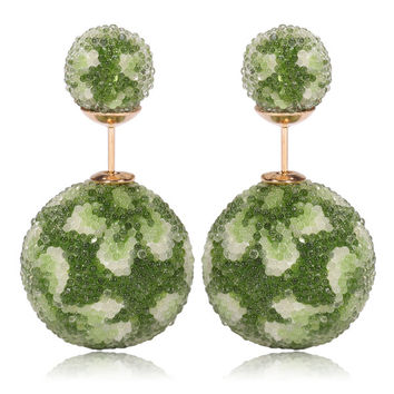 Italian Import Gum Tee Mise en Style Tribal Double Bead Earrings - Micro Bead Green Flower Design