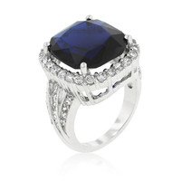 Deep Blue Sapphire Engagement Ring, size : 05