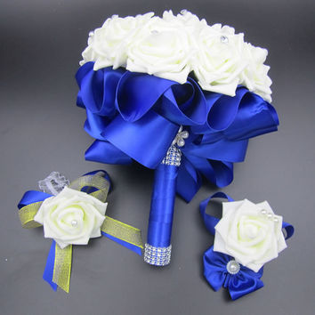 3pc Set Bouquet and Wrist Corsage and Boutonniere Blue buque de noiva White Artifical Rose Wedding Bridal Bridesmaid Flowers FE4
