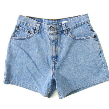 Vintage LEVIS Blue Denim Jean Shorts High Waist 90s Washed Out Jean Shorts 1990s Vintage Levis Shorts Womens Waist 24