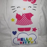 Hello Kitty Room Decor (3 12inx 24 in ) Wall Decal Sheets Self Adhesive Hearts Rainbow Polkadots Gift Set