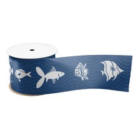 Ocean Blue Waves Fish Pattern Satin Ribbon