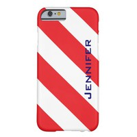 iPhone 6 Case, Red & White Stripe, Personalized Barely There iPhone 6 Case