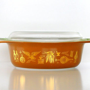 Vintage Pyrex Americana Covered Casserole Oval Early American Casserole w/Lid Brown Gold