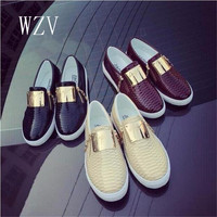 WZV 2017 Hot Sale Casual shoes Fashion Shoes Woman Spring Autumn Flats Round head flat side zipper metal Platform shoes F874