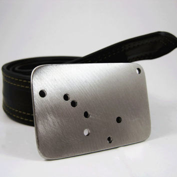 Big Dipper and the North Star Belt Buckle - Stainless Steel - Handmade