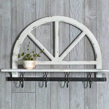 Farm House Country Style Parker's Prairie Wall Shelf with Hooks Wall Mounted