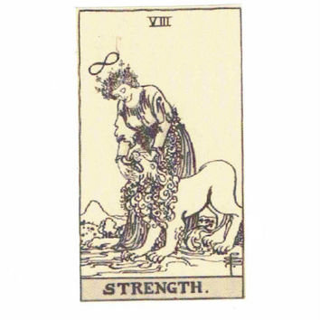 Strength Tarot Greeting Card | Get Well Soon Sympathy Thinking Of You Vintage Friendship Courage Inspirational