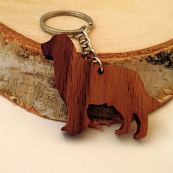 Wooden Gold Retriever Keychain, Walnut Wood, Animal Keychain, Environmental Friendly Green materials