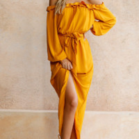 Yellow Ruffle Maxi Dress