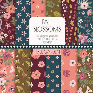 Fall Floral Digital Paper. Autumn Rose, Peony Flower Patterns. Shabby, Rustic Chic Hand Drawn Floral Background. Burgundy, Pink, Olive, Gray