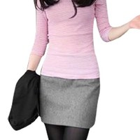 Woman Polyester Lining Light Worsted Mini Skirt