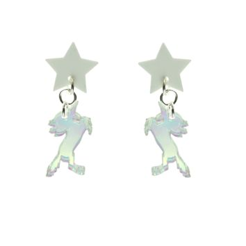 Star/Unicorn Dangle Earrings in White and Iridescent Hologram