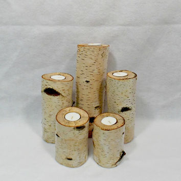 Rustic Birch Tree Candle Holders - Rustic Candle Holder - Rustic Wedding - Woodland Candle - Rustic Decor - Tea Light Holder - Wood