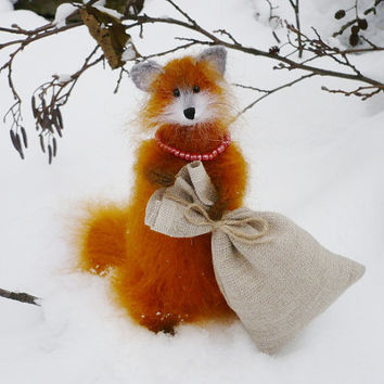 Knitted fox stuffed animal stuffed fox soft scultpure orange red fox plushie woodland decor fox plush
