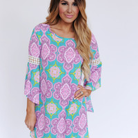 Purple Printed Bell Sleeve Dress