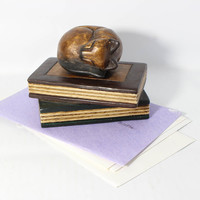 Vintage  Carved Wood Cat Sleeping on Books Paperweight - Thailand