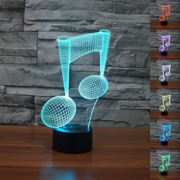 Colorful Musical Note Shape 3D Visual Lights Touch Type LED Lamp Creative Present 3D Night Light