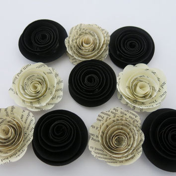 "Black and aged Book page paper flowers, 10 piece set, 1.5"" roses, classic wedding theme, baby shower decor, place setting favors table decor"